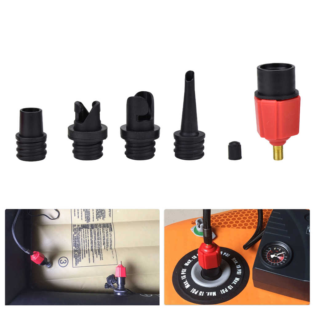 4 in 1 Air Valve Adapter Connector Inflatable Boat Pump Kayak Sup Nozzle F7V7