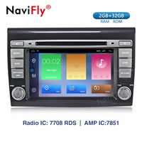 NaviFly Android 9.1 Car multimedia player GPS Navigation Radio for Fiat Bravo HD 1024*600 With Wifi BT RDS Head Unit Map MIC AM