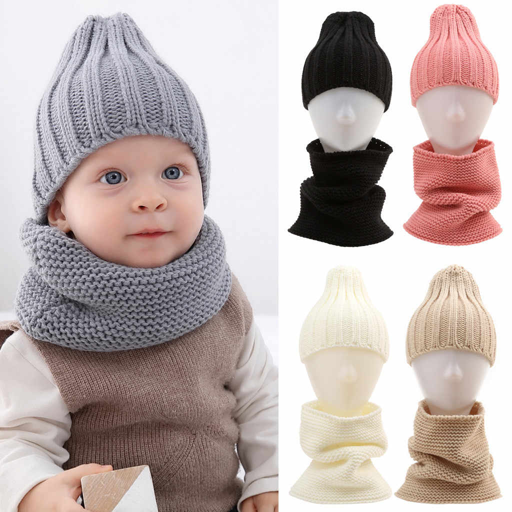 Unisex Two Pieces Of Children's Knitted Cap Keep Warm Neckerchief Winter Hat Newborn Photography Baby Cap Gorros Bebes Roupas