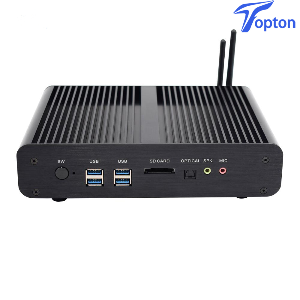 Topton Fanless Mini PC Windows 10 Pro Intel 2*DDR4 32GB Intel I7 7500U  HD Graphics 620 300M Wifi Kaby Lake Desktop Computer