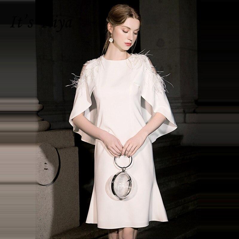 It's Yiiya Cocktail Dress White O-neck Tassel Party Dresses Elegant Sleeveless Formal Dresses Knee Length Robe Cocktail LF021
