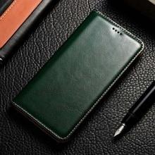 Ímã natural couro genuíno pele flip carteira livro telefone caso capa para realmi c3 6 pro realme6 6pro c 3 64/128 gb