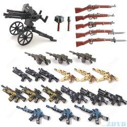 DIY военный пистолет WW2 MOC аксессуары часть мини солдат Базовая фигурка Playmobil Модель Строительный блок кирпич детская игрушка