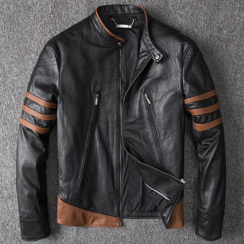 Wolverine Men's Winter Genuine Leather Jacket For Men Motorcycle Pilot Bomber Jacket Natural Real Leather Male Aviator Coat 2020