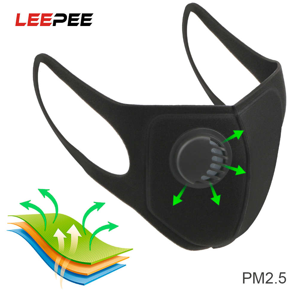LEEPEE Moto Sponge Masks Sport Face Mask With Activated Carbon Pm 2.5 Anti-pollution Running Cycling Mask Reusable Anti Dust