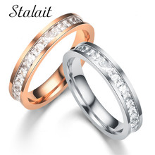 Chic 1-2 Row Inlay Rhinestone Couple Rings 316L Stainless Steel Rose Gold Color Wedding Rings For Women Man Engagement Jewelry tailor made luxury western rose gold color inlay health surgical stainless steel wedding bands rings sets