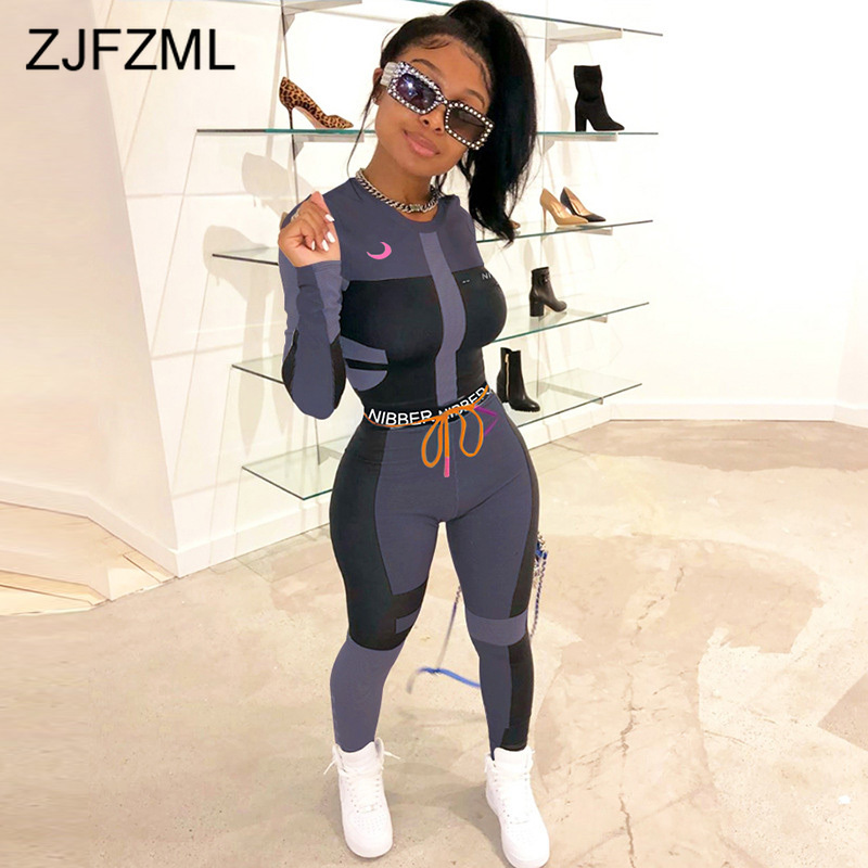 Letter Print Sportswear 2 Piece Sweatsuit Women Clothes O-Neck Full Sleeve Crop Tops And Skinny Long Pencil Pants Matching Sets