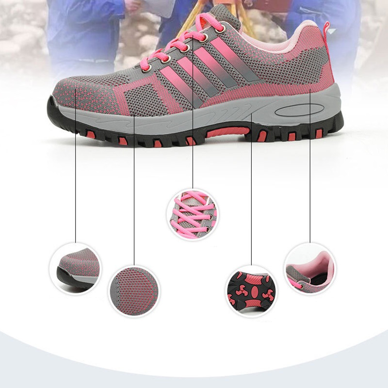 LightWeight Breathable Women Safety Work Shoes Steel Toe Outdoor Work Boots Mesh Anti-smashing Construstion Sneaker Female