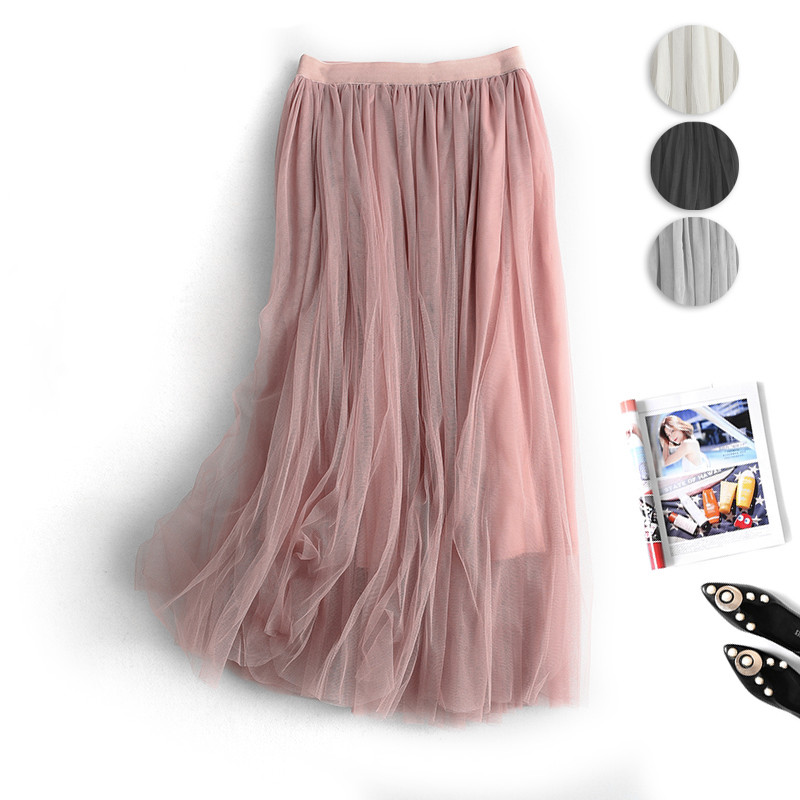 Korean 3 Layers Yarn Skirt Women Elastic High Waist Long Tulle Skirt Women Mesh Tutu Skirt 2020 Party Midi Skirt Faldas Mujer