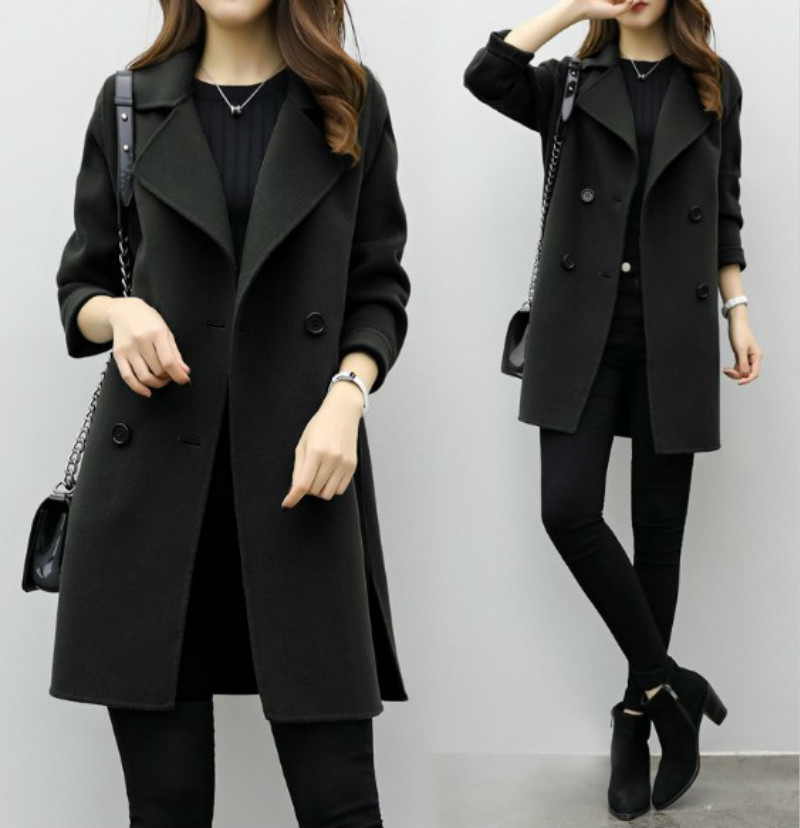 RICORIT New Women Casual Coats Turn-down Collar Coat Warm Woolen Long Sleeve Slim Winter Outwear Lapel Cardigan Female Overcoat