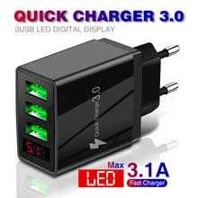 5v3.1a Digital Charger 3usb Digital Display Fast Charging Charger Smart Phone Charging Plug Cross-Border Hot