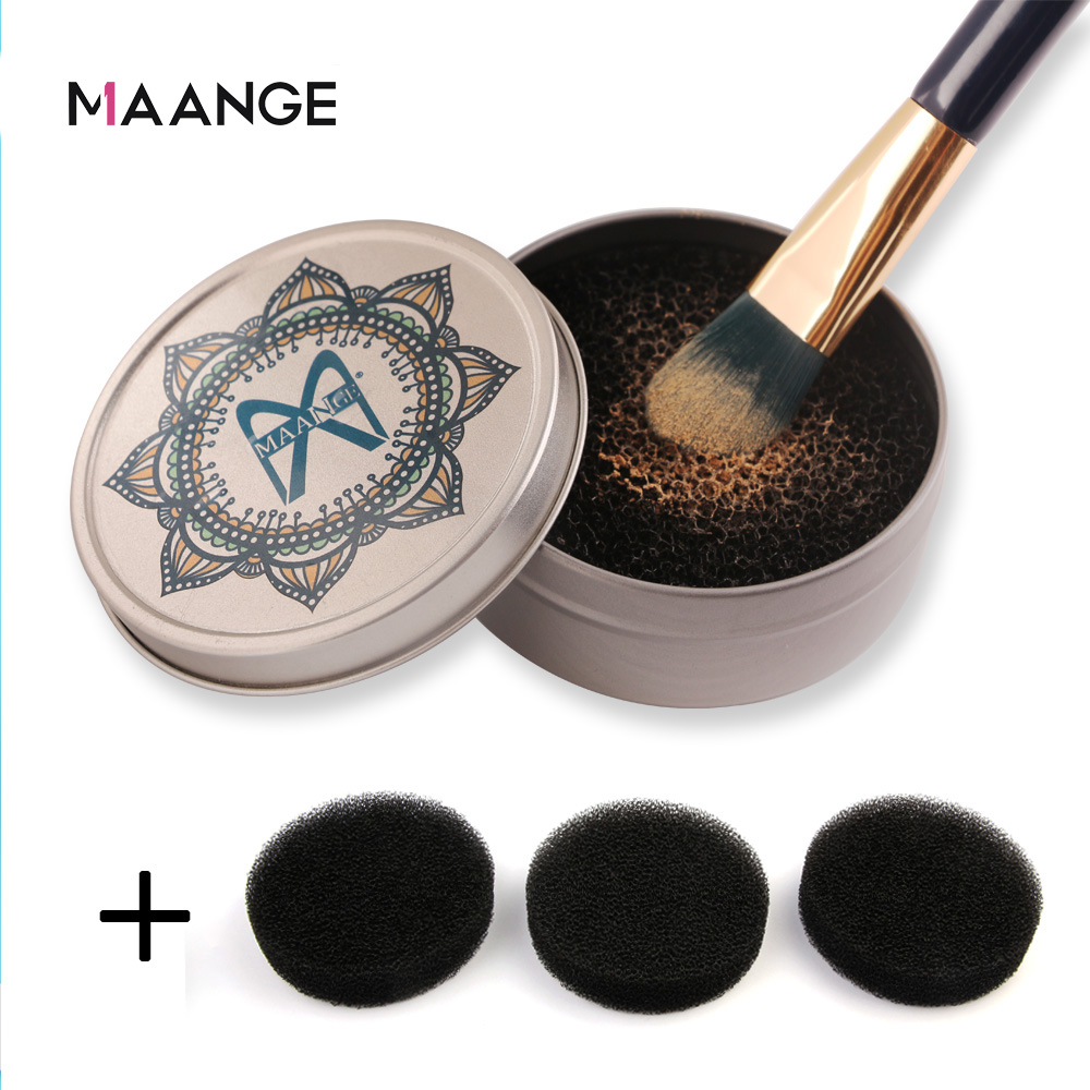 MAANGE Makeup Brush Cleaner Sponge Remover Color Off Make Up Brushes Cleaning Mat Box Powder Brush Washing Cosmetic Clean Kits