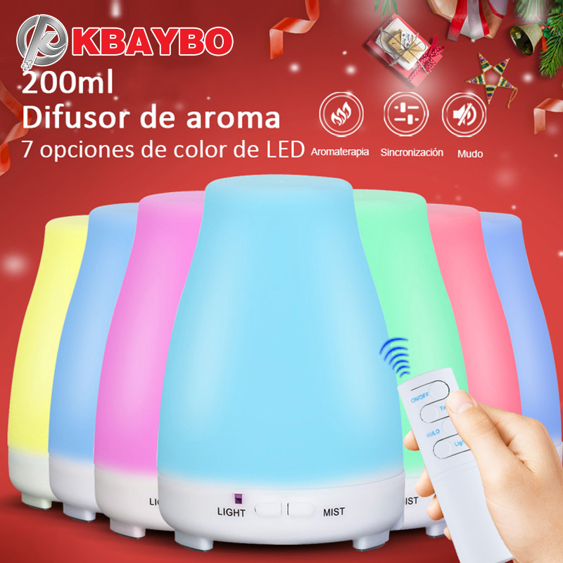 200ML Ultrasonic Humidifier Aromatherapy Diffuser Cool Mist With Color LED Lights Essential Oil Diffuser Waterless Auto Shut-off