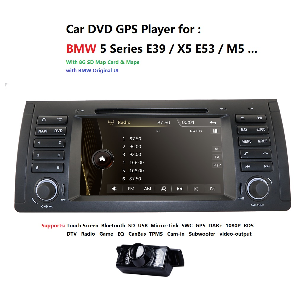 1 <font><b>din</b></font> 7'' Car DVD Player Radio GPS for <font><b>BMW</b></font> E53 <font><b>E39</b></font> X5 tuning parts M5 Accessories X5 E53 Navigation SWC RDS AM/FM CANBUS CAM DAB image