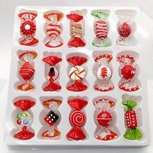 15 шт Мурано ручной работы Красный glass candy искусство Рождественский