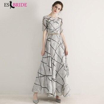Gray White Evening Dresses Long 2019 Elegant A line Winter Autumn Half Sleeve Formal Party Gowns Graduation Dress ES2956