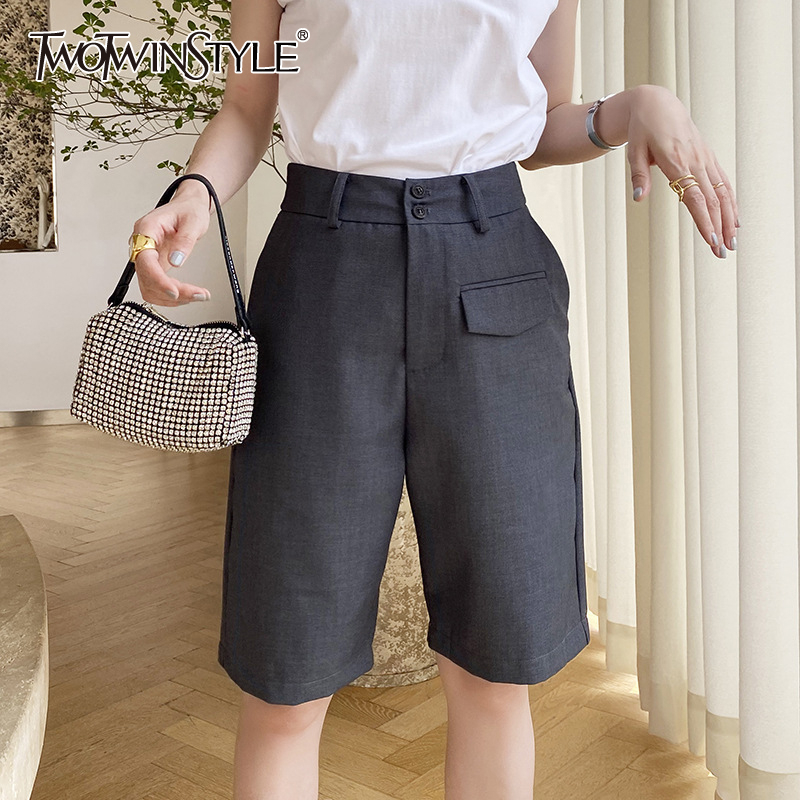 TWOTWINSTYLE Elegant Asymmteircal Women Knee Length Pants High Waist Loose Straight Pant For Female Fashion Clothes Summer Tide