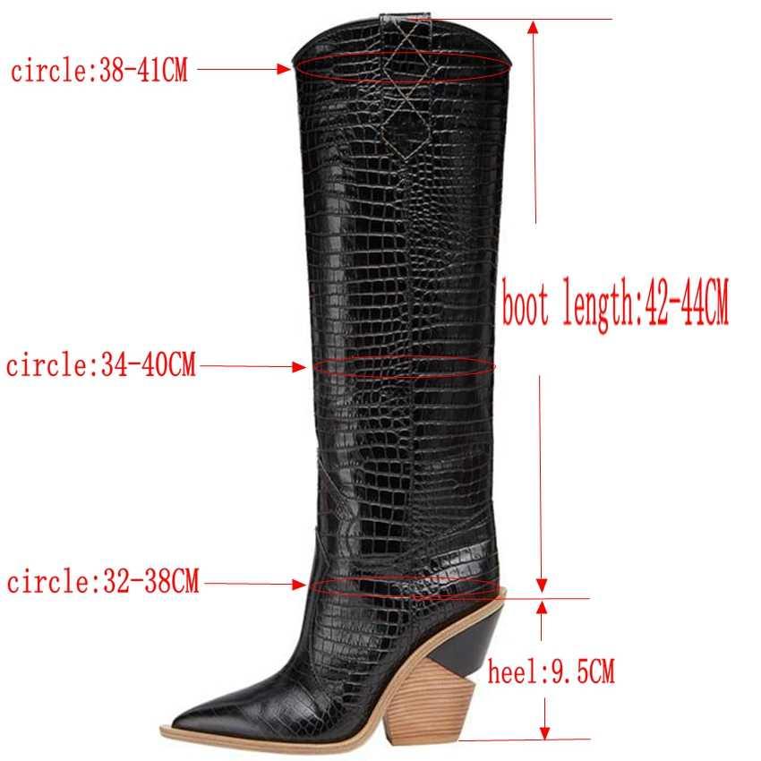 Marka mikrofiber deri kadın diz yüksek çizmeler seksi sivri burun yüksek topuklu batı botları kadınlar Kış tıknaz kama çizmeler