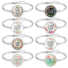 Best Selling 8 Pcs / Pack Bible Verse Bracelet Silver Color 25mm Art Glass Dome Bracelets Scripture Christian Jewelry Faith Gift(China)