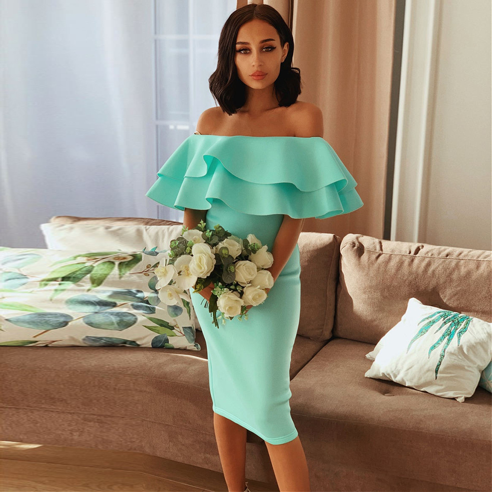 Ocstrade Ruffles Off Shoulder Bodycon Dress 2020 New Arrival Summer Women Mint Sexy Bodycon Dress Club Evening Party Dress