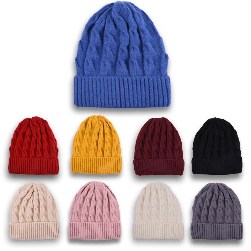 Beanie Hat Knitted-Hat Korean-Version Autumn Winter Unisex Fashion Casual Stripe WZCX