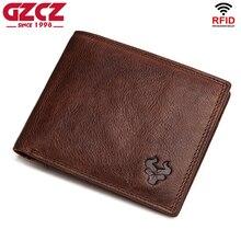 Высококачественный кошелек GZCZ из 100% натуральной кожи с технологией Rfid, мужской кошелек, портмоне, держатель для карт, мужской маленький кошелек