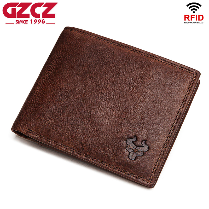 GZCZ Rfid High Quality 100% Genuine Leather Wallet Men Coin Purse Portomonee PORTFOLIO Card Holder Male Cuzdan Perse Small