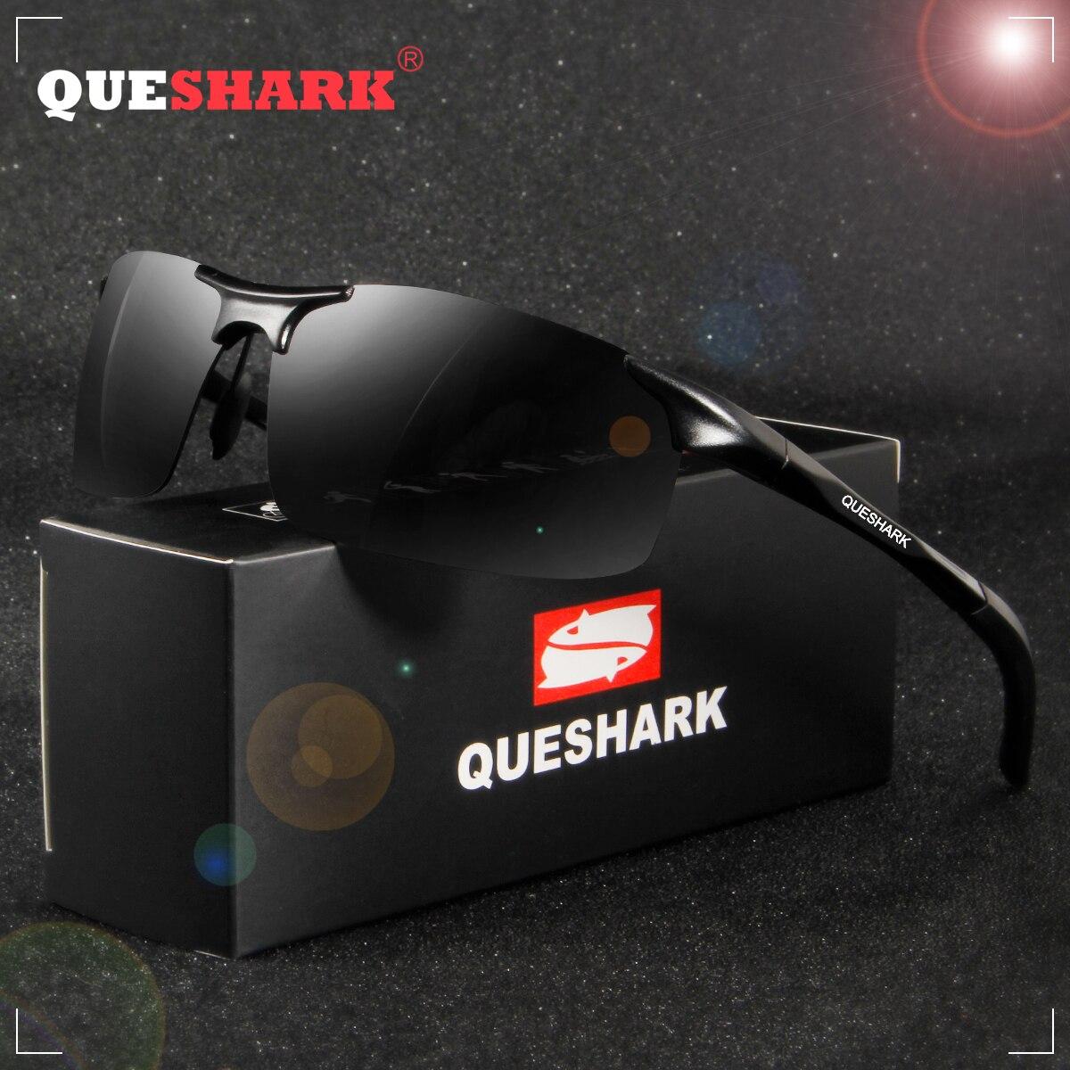 QUESHARK Men's HOT Fishing Polarized Sunglasses For Men Al-Mg Metal Frame Ultra Light Driving Hiking Golf Sports