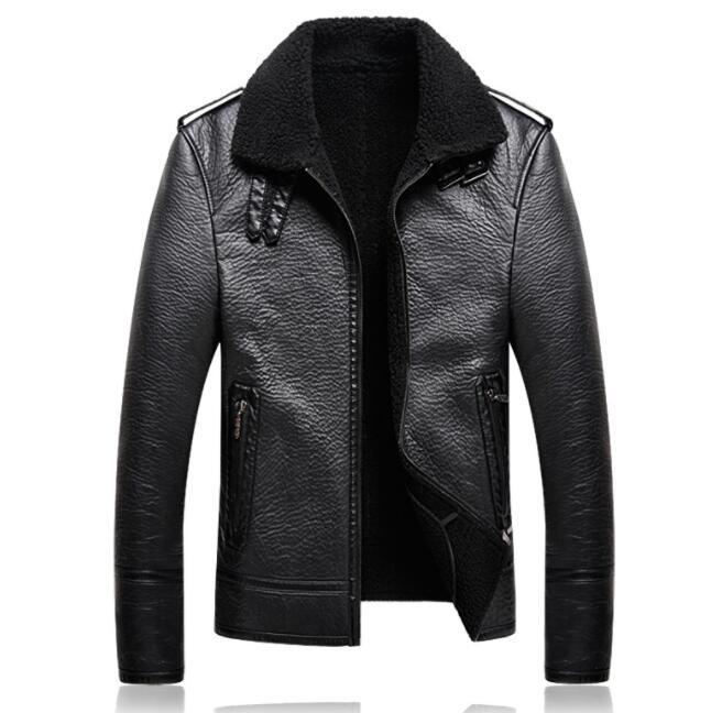 Autumn motorcycle faux leather jacket mens winter thicken warm Plus velvet leather coat men jackets jaqueta de couro black B99