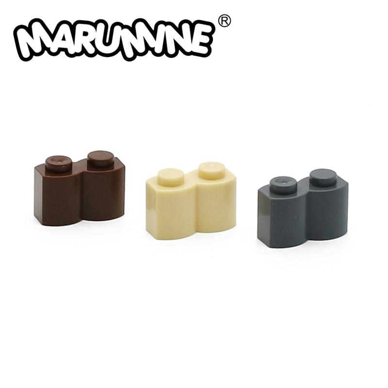 MARUMINE 30136 модифицированный 1x2 бревна с волной 100 шт./лот конструкторные блоки сборные детали классические детали игрушки для детей
