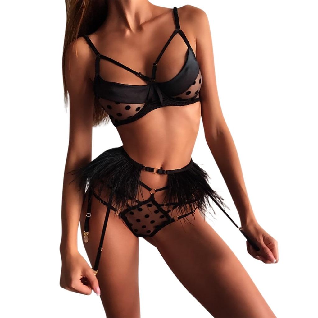 Porno Sexy Lingerie Set Women Exquisite Lace Sexy Underwear Erotic Hollow Bra Briefs Lenceria With Garter Sex Babydoll Sleepwear