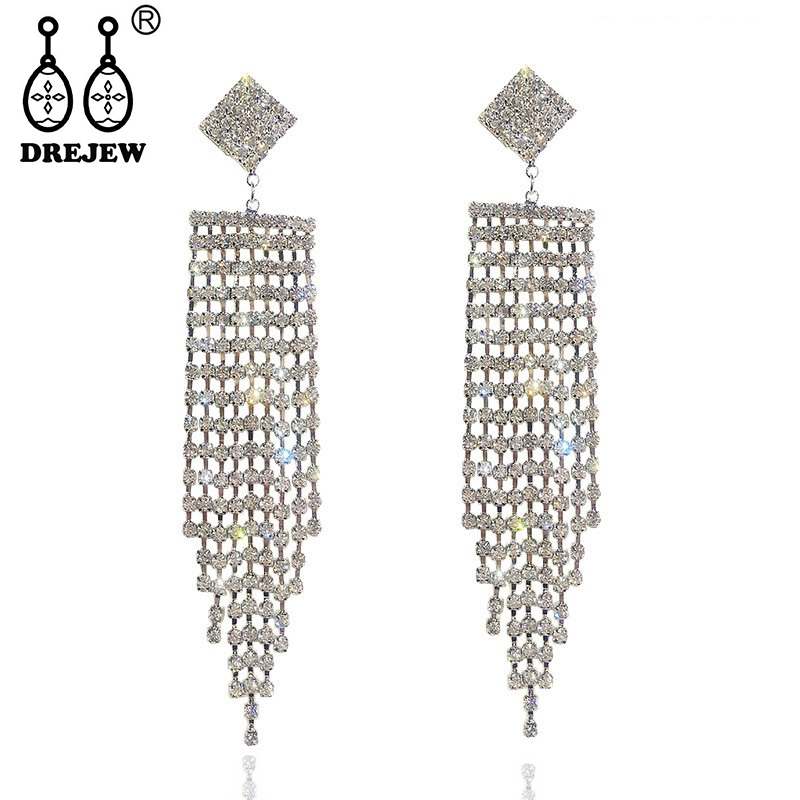 DREJEW Long Tassel Rhinestone Statement Earrings 2019 Gold Silver Square 925 Drop Sets for Women Wedding Jewelry HE827