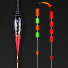 Novo inteligente de pesca led luz flutuador luminoso brilhante cor float incluindo bateria lembrar alta sensibilidade alarme mordida peixe angeln