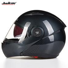 JIEKAI undrape face casco moto open face caschi moto imitazione fibra di carbonio