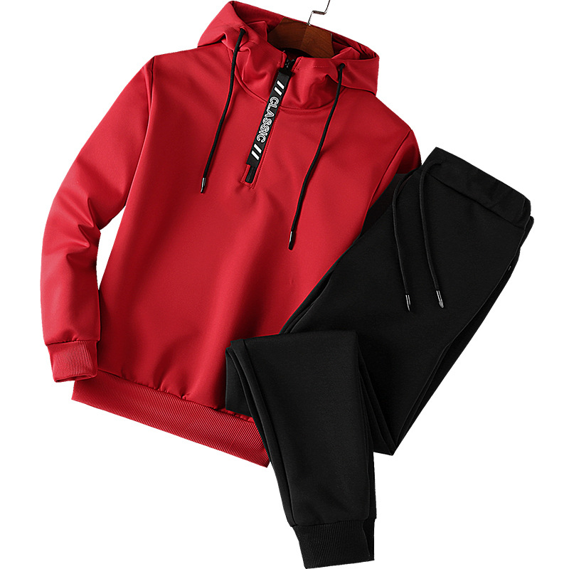 Spring And Autumn Thin Men Hooded Lettered Slim Fit Hoodie Youth Large Size Leisure Sports Suit Iiaijii