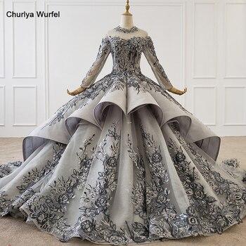 HTL1199 long elegant evening dress 2020 long sleeve high neck applique crystal lace long party dress new платье женское вечернее вечернее платье kagehide court aq4533 2015