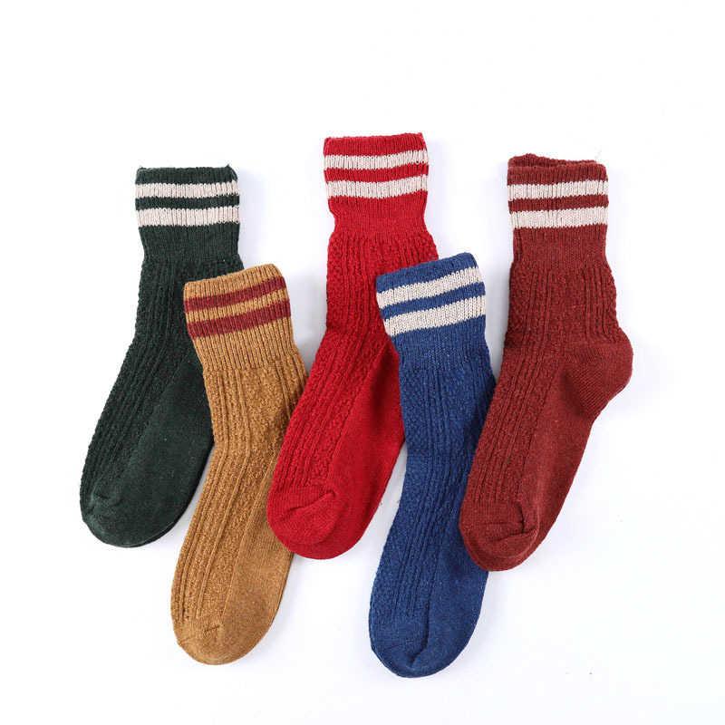 Yeni Şerit Tasarım Marka Kadın Kış Çorap Retro Kalın Yün Çorap Çizmeler için Yeşil Sarı Mavi Kırmızı Flanş Sıcak Tutmak kadın Çorap