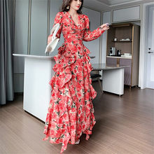 CBAFU uzun kollu çiçek baskı uzun maxi elbise bahar yaz zarif pist retro plaj parti elbiseler ve boyun uzun kollu m417