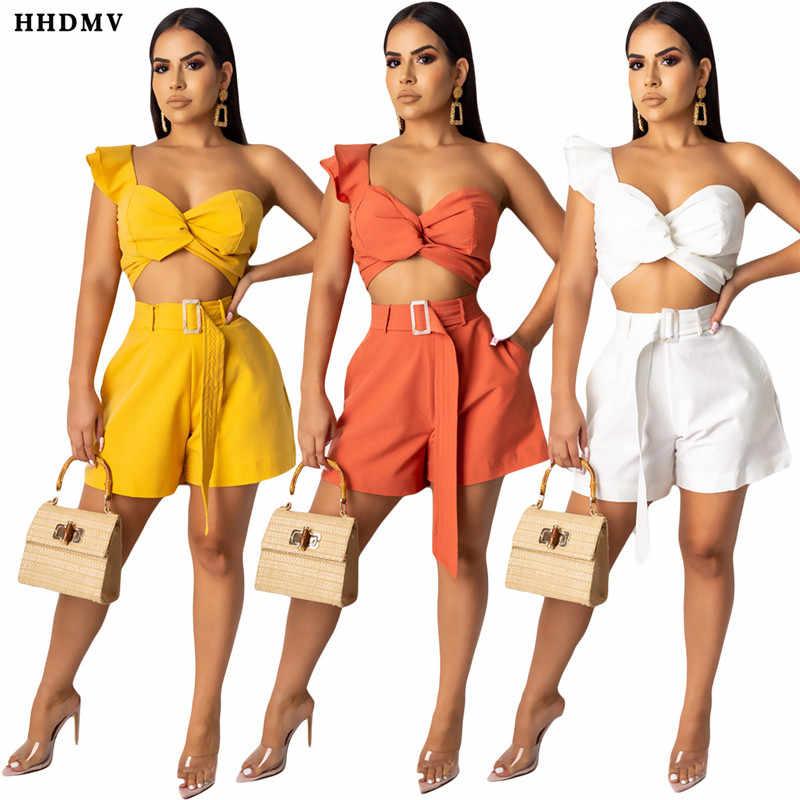 HHDMV YY5121 mode réduction de l'âge rue outillage style sans manches une épaule haut court ceintures pantalons courts deux pièces ensembles