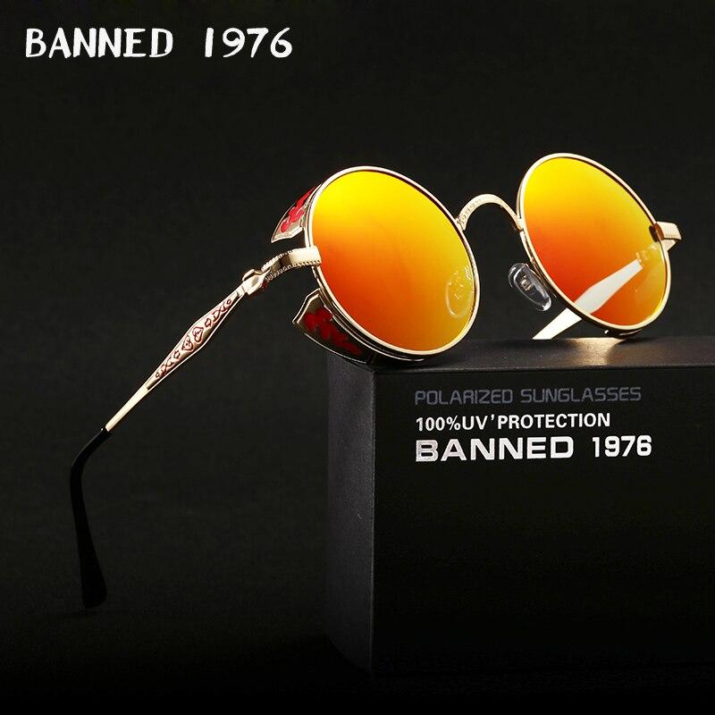 2017 HD polarisé rond métal cercle Punk Steampunk lunettes de soleil pour hommes femmes revêtement lunettes de soleil oculos de sol rétro masculino