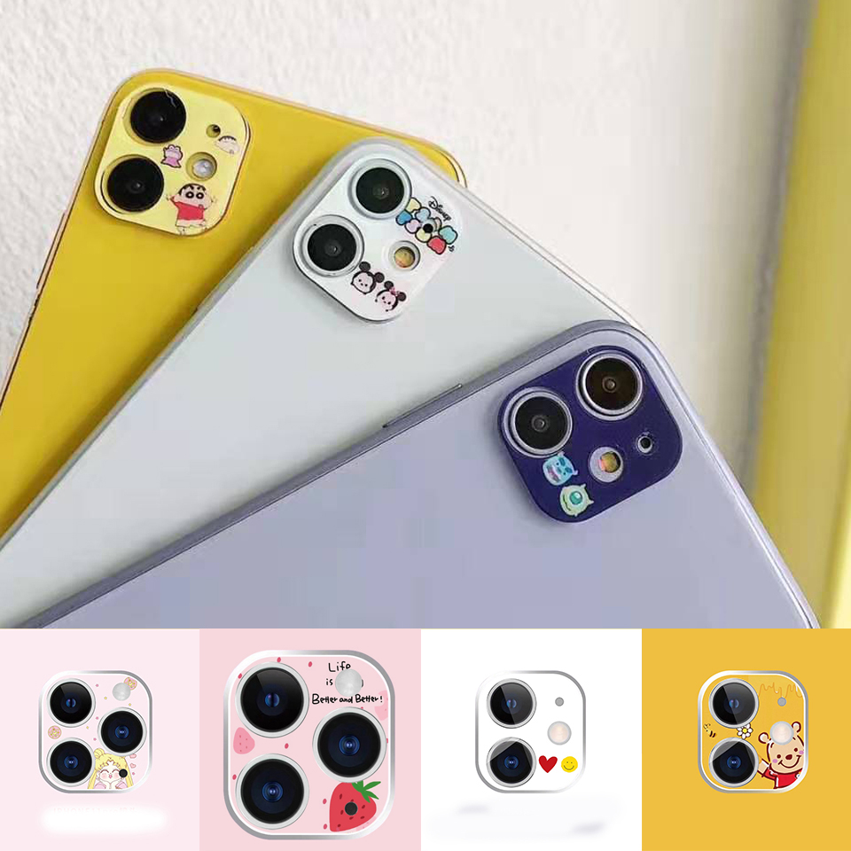 Cartoon Film For IPhone 11 Pro MAX Flower/funny Camera Lens For IPhone 11 Pro Funny Camera Film Aluminum Plastic Lens Protection