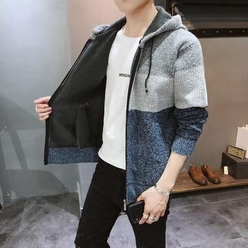 Sweater Men Clothes 2019 Winter Thick Warm Long Cardigan Men With Hood Sweater Coat With Cotton Liner Zipper Coats KK3071