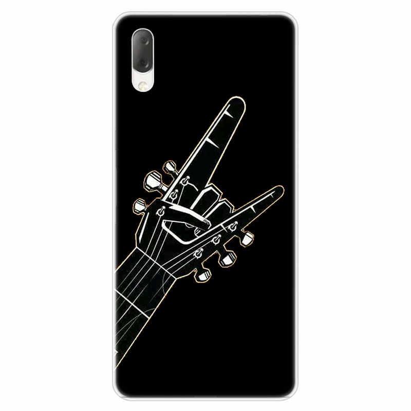 Rock roll için kafatası durumda Sony Xperia L1 L2 L3 X XA XA1 XA2 Ultra E5 XZ XZ1 XZ2 kompakt XZ3 M4 Aqua Z3 Z5 Premium moda kapak