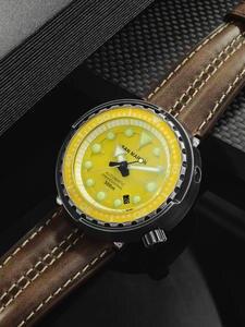 Watch Mechanical-Watch San Martin Sapphire Automatic Window Stainless-Steel Date Waterproof