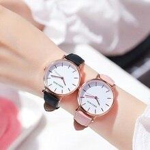 Ladies Watches Quartz Minimalist Girls Ultra-Thin Clock Leather-Band Gift Female Student