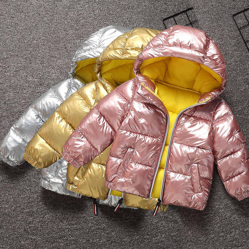 Baby Boys Girls Down Jacket Warm Children Down Parka Coat Snowsuit Gold Silver Kid Teenager Thickening Outerwear For Cold Winter