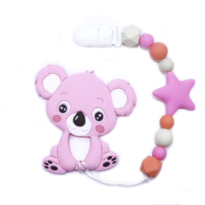 BOBO.BOX Silicone Teether Pacifier Chain Clip Silicone Teether Koala Baby Shower Gift Teething Necklace Silicone Beads  BPA Free