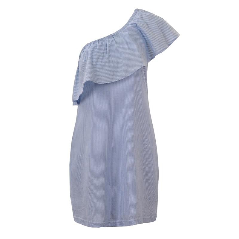 GLO-STORY Sommerblå stribe Mini kjole 2018 Kvinder Asymmetrica One - Dametøj - Foto 5