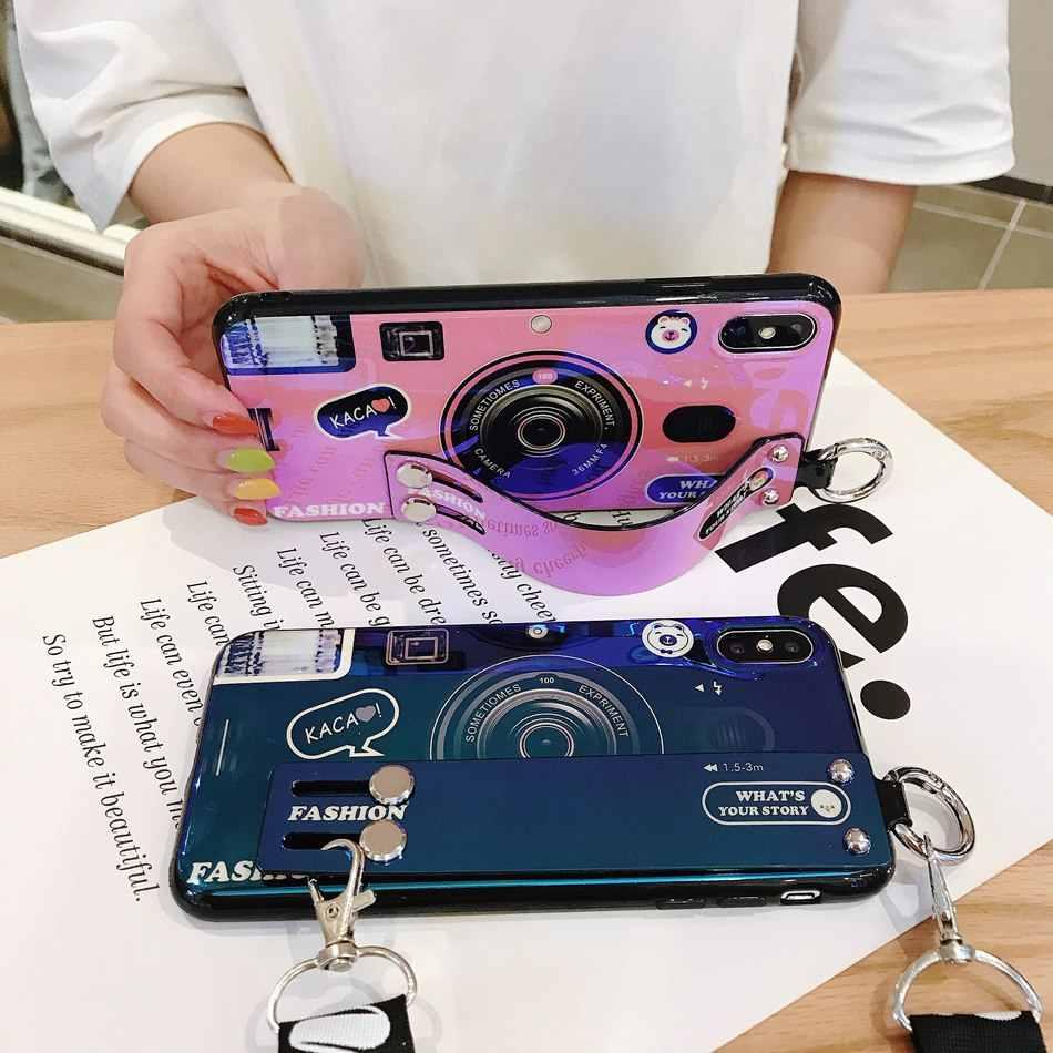 Moda Pulseira Câmera Caso de Telefone Para o iphone 11 pro XR XS Max Caso Capa de Silicone Para o iphone 11 7 8 6s Plus Titular Caso Cinta