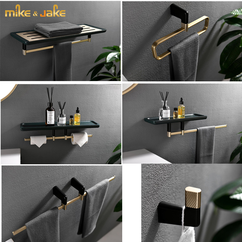 Luxury Wood Brass Series Bathroom Shelf Accessory Gold Brush With Wood Bathroom Towel Bar Shelf Paper Holder Accessory